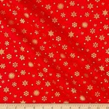 Makower - Deck the Halls - Red snowflake - metallic