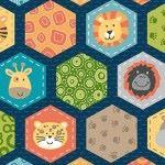 Makower - Jungle Friends - Hexagons Blue - longest piece one metre