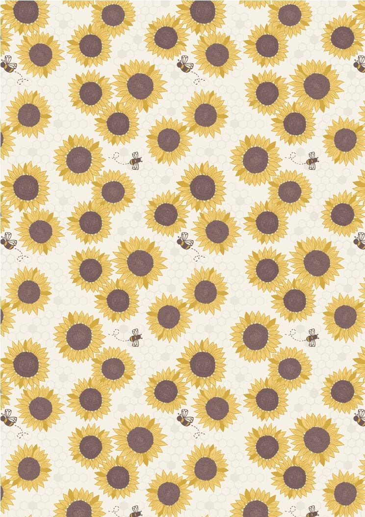 Lewis & Irene - Farmers Market - Sunflowers and bees on white
