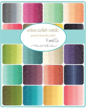 "Moda - Ombray Confetti Metallic by V&Co - 2 1/2"" strips Jelly Roll"