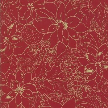 MODA - Cardinal Song - Metallic - Poinsettia - Christmas