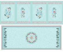 Lewis & Irene - Pale Blue Table Centre and Four Placemat panel with Pearles