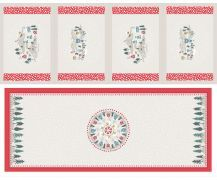 Lewis & Irene - Grey/Red Table Centre and Four Placemat panel with Pearlesc