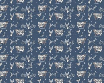 Fabric Freedom - Blue Highland Cattle & Grouse fabric