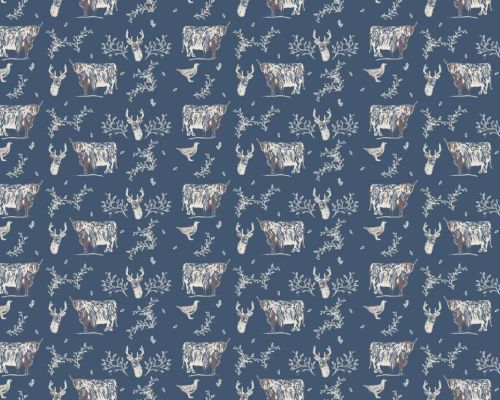Fabric Freedom - Blue Highland Cattle & Grouse fabric