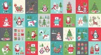 Makower - Let it Snow - Christmas Snow Blocks panel