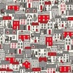 Makower - Scandi Houses Red