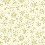 Makower - Yuletide - Christmas Metalic Snowflakes Cream/gold