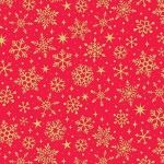 Makower - Yuletide - Christmas Metalic Snowflakes Red/gold