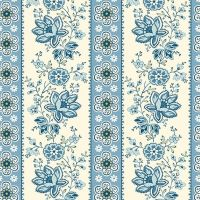 Makower - Edyta Sitar - Perfect Union - Floral Stripe - Blue Bell