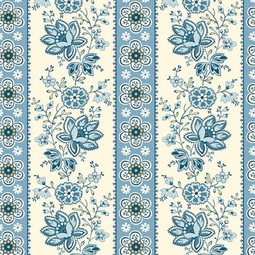 Makower - Edyta Sitar - Perfect Union - Floral Stripe - Blue Bell