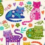 Makower - Katies's Cats - Cats Allover Cream background