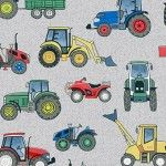 Makower - Village Life - Tractors on grey background