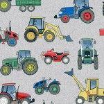 Makower - Village Life - Tractors on grey background