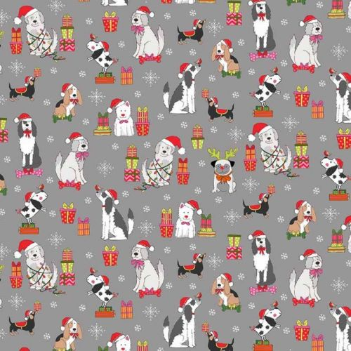 Makower - Yappy - Christmas Dogs scattered on grey