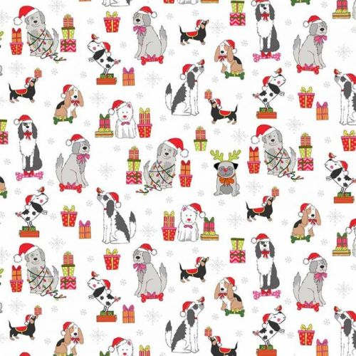 Makower - Yappy - Christmas Dogs scattered on cream