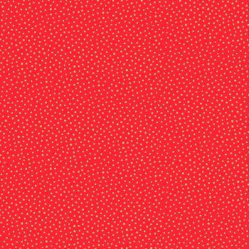 Makower - Christmas Santa Express Snowballs on red with metallic highlights