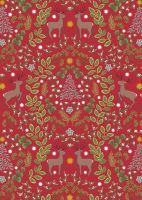 Lewis & Irene -  Noel - NOEL designs on Christmas red background with gold metallic highlights
