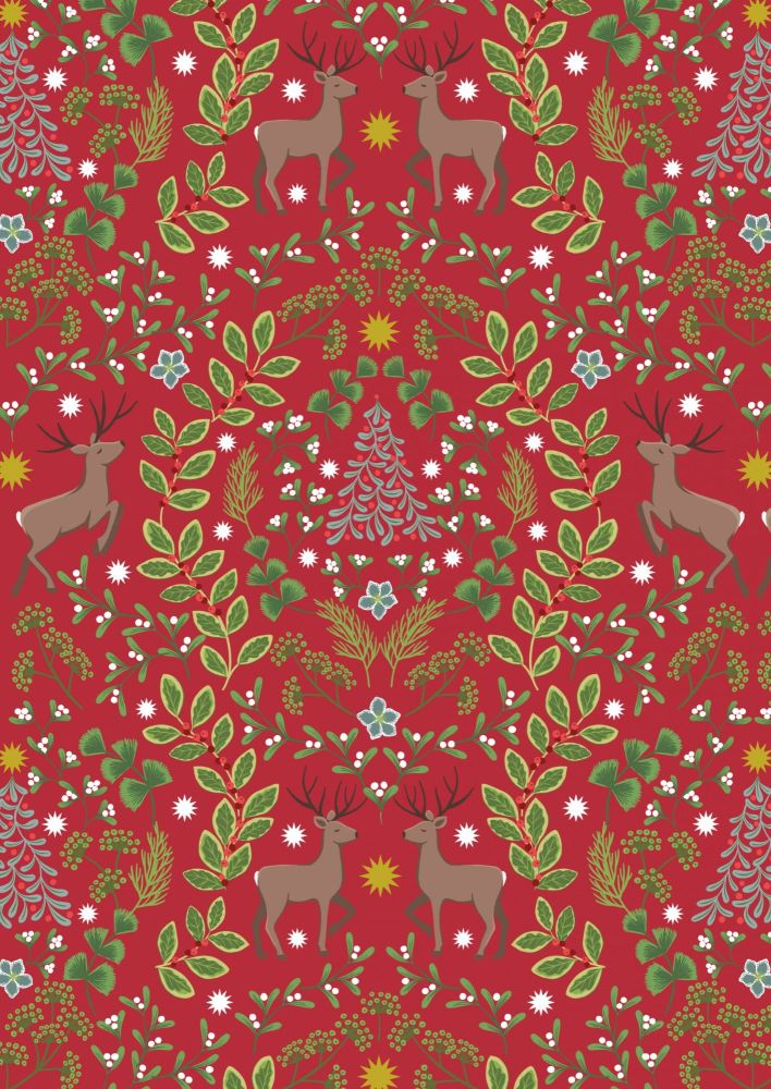 Lewis & Irene -  Noel - NOEL designs on Christmas red background with gold