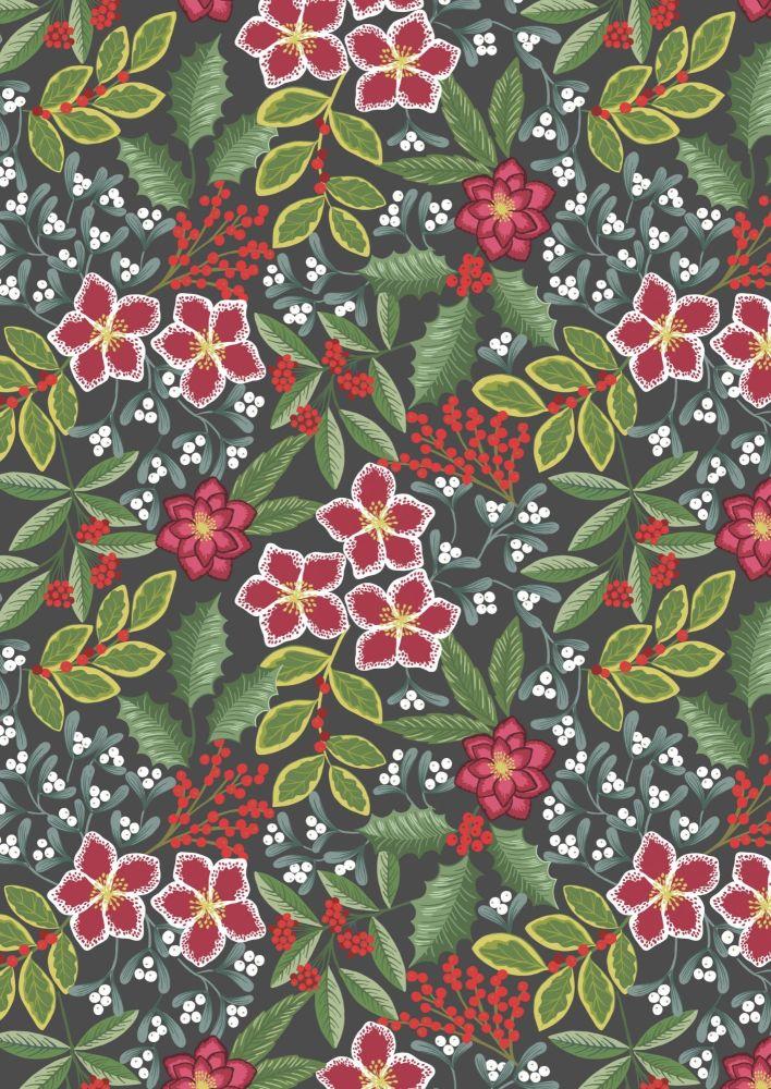 Lewis & Irene - Christmas - Noel - Winter Floral on dark warm grey backgrou