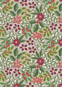 Lewis & Irene - Christmas - Noel - Winter Floral on beige background with gold metallic highlights