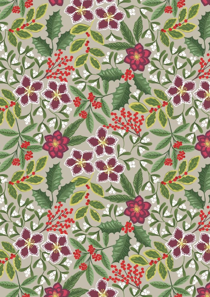 Lewis & Irene - Christmas - Noel - Winter Floral on beige background with g