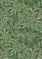 Lewis & Irene -  Noel - Holly berries mono on Christmas green background with gold metallic highlights