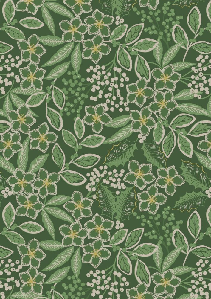 Lewis & Irene -  Noel - Holly berries mono on Christmas green background wi