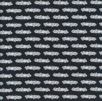 Severnberry fabrics - Made by Japan - Vintage grey sports cars on Black