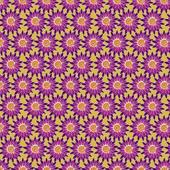 Makower - Henna by Beth Studley - Sunflower - Yellow/pink flower