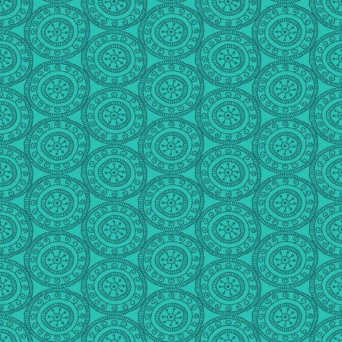 Makower - Henna by Beth Studley - Medallion Turquoise
