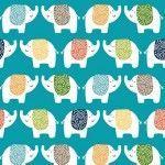 Makower - Jungle Friends - Elephants Blue - REMNANT