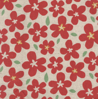 Sevenberry - Natural Linen - Floral - Red