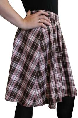 TARTAN SKIRT-pink and brown