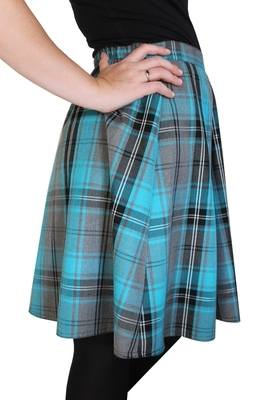 TARTAN SKIRT - Turquoise and Black