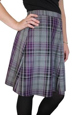 TARTAN SKIRT - purple and grey