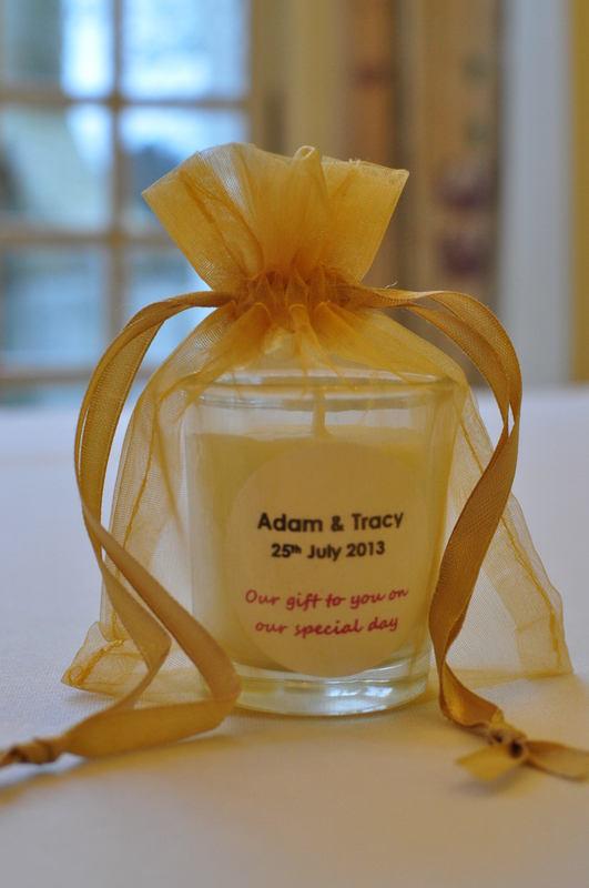 mini votive wedding favour candle in organza bag