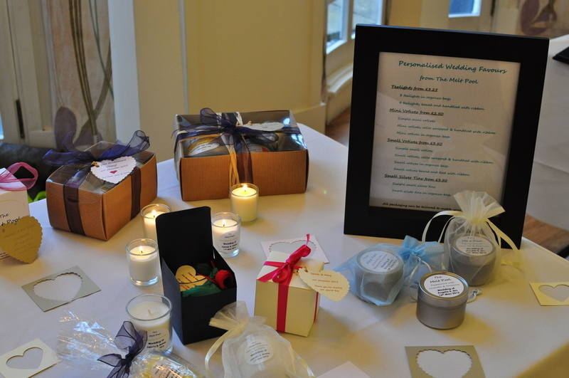 wedding favour candles and gifts for the bridal party
