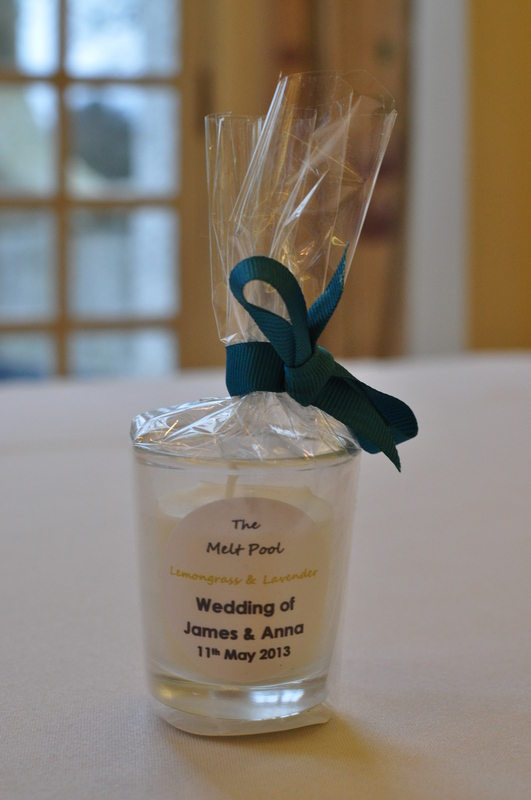 cello wrapped mini votive wedding favour candle