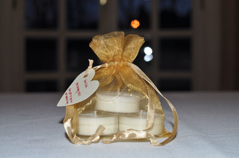 soy wax tealight wedding favour candles in organza bag