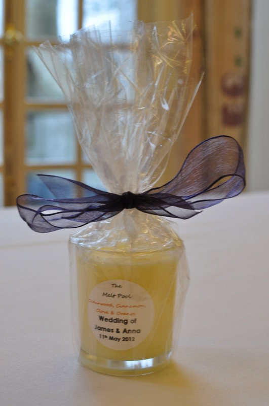 cello wrapped votive wedding favour candle
