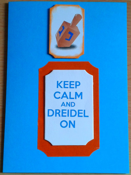 Keep Calm and Dreidel On card