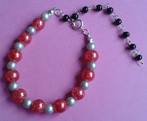 Soft Grey and Red Bead Bracelet