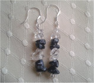 Snowflake Obsidian & Crystal Earrings