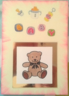 Brown Teddy New Baby Card