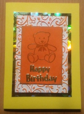 Teddy Bear Yellow Birthday Card