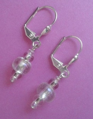 Clear bead earrings with silver plate Eurowires