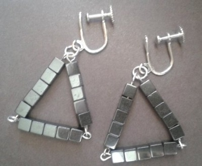 Haematite Triangle Earrings