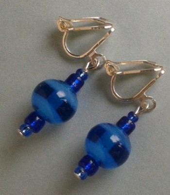 Blue Stripe Earrings