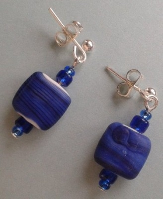 Square Blue Earrings